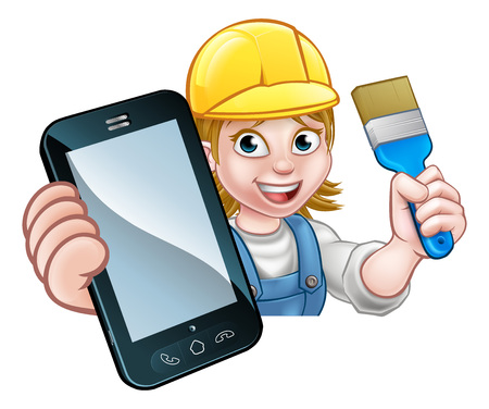 A painter decorator or handyman holding a paintbrush and phone with copyspace