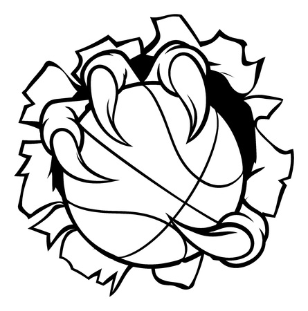Basketball Ball Eagle Claw Ripping Background