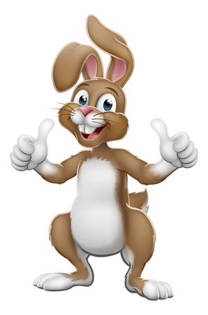 Easter bunny rabbit cartoon character giving a thumbs up Vektoros illusztráció