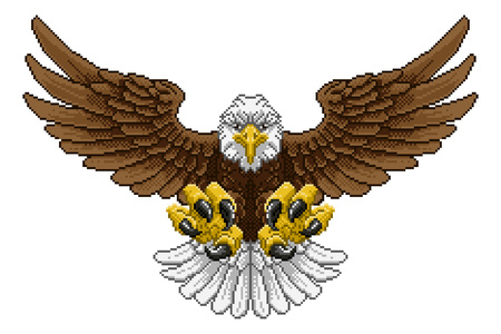 Eagle Pixel Art Arcade Game Cartoon Mascot