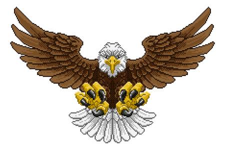 Eagle Pixel Art Arcade Game Cartoon Mascot Vectores
