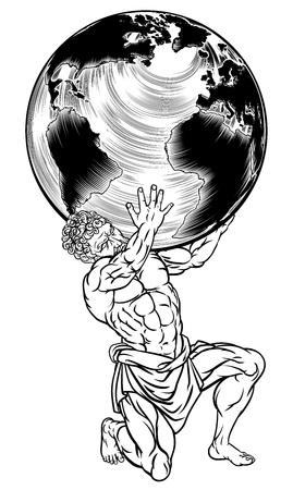 Greek Mythology Atlas Illustration Illustration