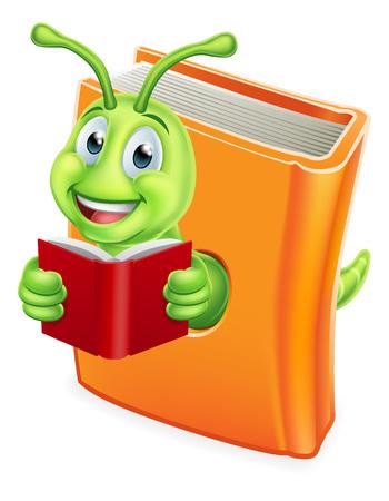 Bücherwurm Raupenwurm beim Lesen von Büchern