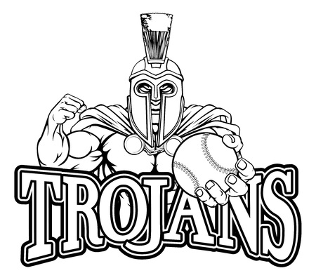 Spartan Trojan Baseball Sports Mascot Illustration