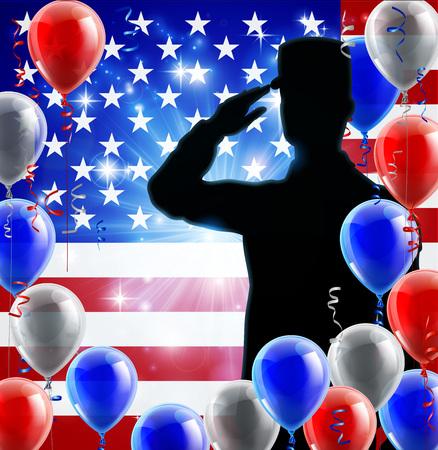 Saludando Soldado Bandera Estadounidense Fondo Globo Ilustración de vector