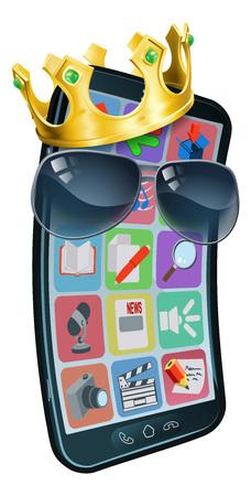 Mobile Phone Cool Shades King Crown Cartoon Mascot Vektorové ilustrace