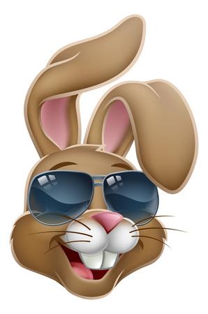 Cool Easter Bunny Rabbit in Shades Cartoon