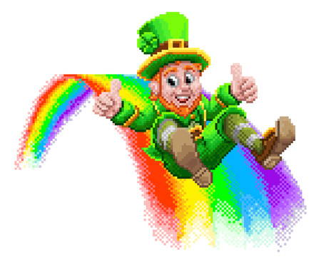 Leprechaun and Rainbow 8 Bit Arcade Game Pixel Art