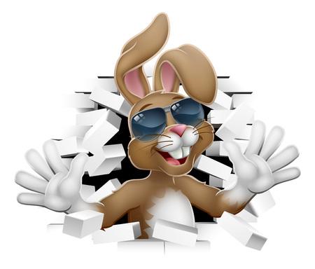 Cool Easter Bunny Rabbit in Shades Breaking Wall Иллюстрация