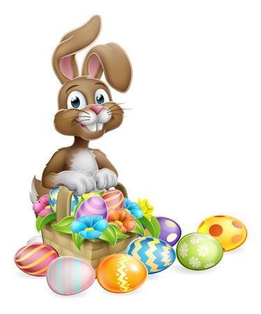 Easter Bunny Rabbit Eggs Hunt Basket Cartoon Illustration