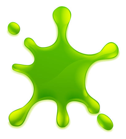 Slime ou mucus liquide vert goo blob, splat, éléments de conception dégoulinant
