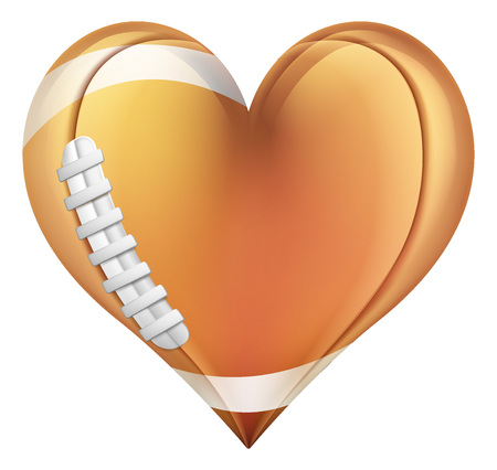 Heart Shape American Football Ball Stock Illustratie