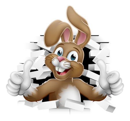 Easter bunny rabbit cartoon character breaking through the background wall and giving a thumbs up