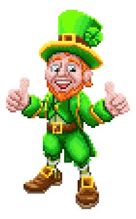 Leprechaun Retro 8 Bit Arcade Video Game Pixel Art Illustration