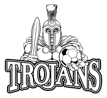 Trojan Spartan Soccer Football Sports Mascot