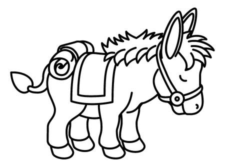 Donkey Animal Cartoon Character Ilustração