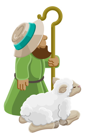 Cartoon Traditional Shepherd and Sheep or Lamb