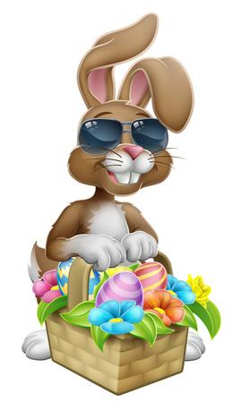 Easter Bunny in Shades Rabbit Eggs Hunt Cartoon