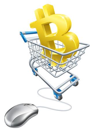 Bitcoin Computer Mouse Shopping Cart Concept