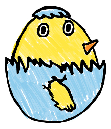 A cute baby Easter chick bird hatching from its egg childs drawing Standard-Bild - 121753418