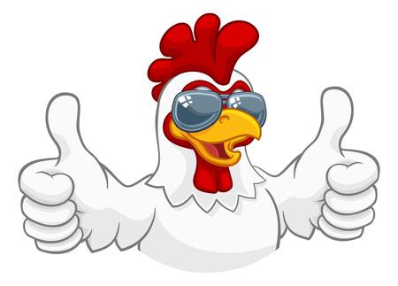 poulet coq coq oiseau lunettes de soleil dessin animé Vecteurs
