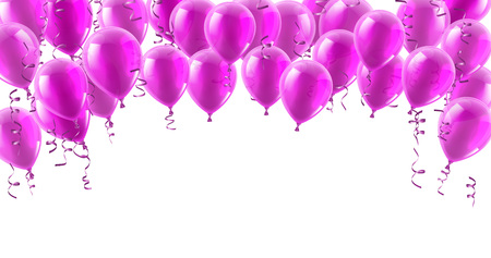 A pink party balloons isolated header background