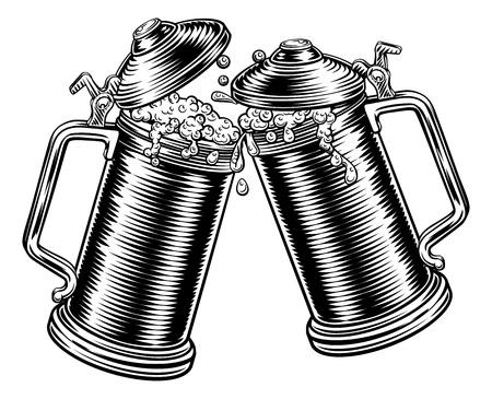 Beer Stein German Oktoberfest Pint Tankard Mugs Illusztráció