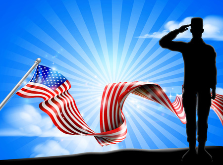 American Flag Patriotic Soldier Salute Background