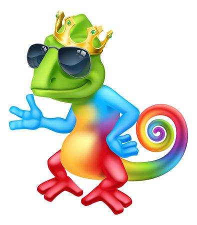 Chameleon Cool King Cartoon Lizard Character 版權商用圖片 - 117900375