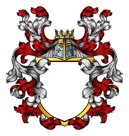 Coat of Arms Crest Knight Family Heraldic Shield Imagens - 117900379