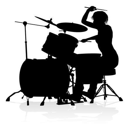 Músico, baterista, silueta