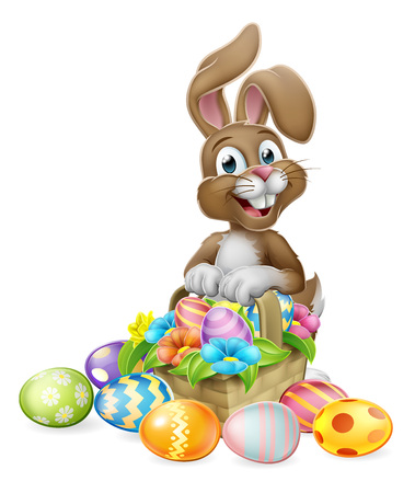 An Easter bunny rabbit cartoon character with a basket on an Easter egg hunt Standard-Bild - 121753423
