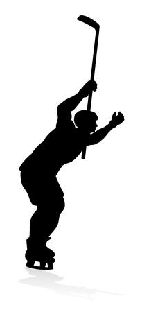 Hockey Sports Player Silhouettes Illustration