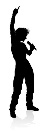 Singer Pop Hiphop or Rock Star Silhouette Woman Stock Illustratie