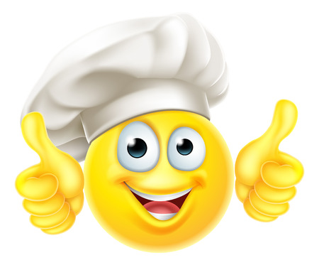 Emoji, chef, cocinero, caricatura, pulgares arriba