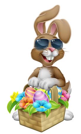 Easter Bunny in Sunglasses Eggs Hunt Cartoon