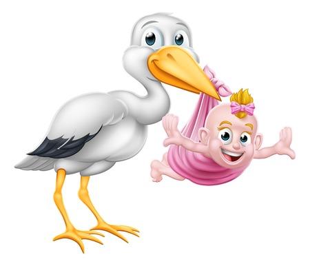 Un pájaro de dibujos animados de cigüeña o grulla que lleva a un bebé recién nacido como en el mito del embarazo. Ilustración de vector