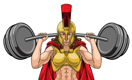 Woman Spartan Trojan Sports Mascot Vector Illustration