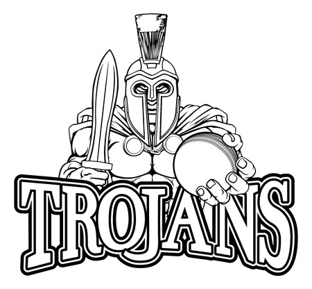 Spartan Trojan Cricket Sports Mascot Illustration