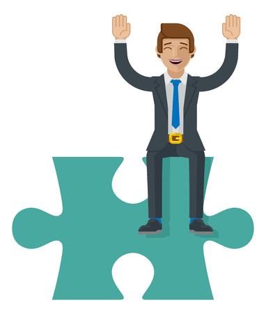 Jigsaw Puzzle Piece Business Man Cartoon Mascot