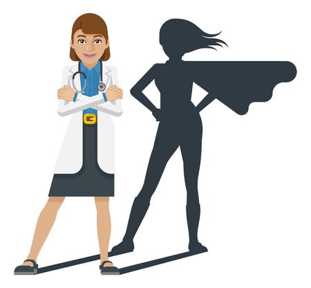 Młody lekarz medycyny superbohater maskotka kreskówka Ilustracje wektorowe