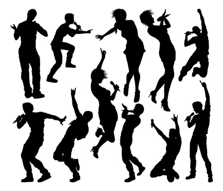 Singers Pop Country Rock Hiphop Star Silhouettes Vector Illustration
