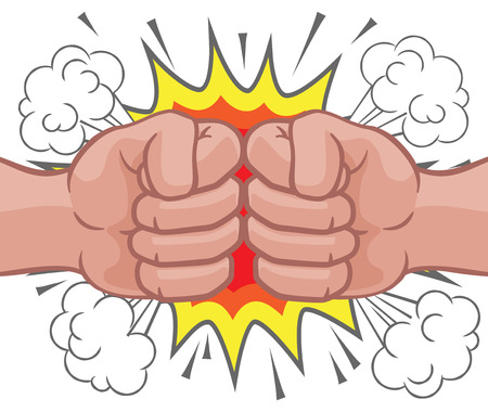 Fist Bump Explosion Hands Punch Cartoon