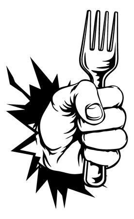 Hand Holding Fork Breaking Background
