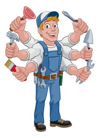 Handyman Cartoon Tools Caretaker Construction Man
