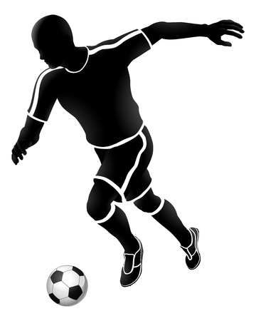 A soccer football player running and kicking a ball silhouette sports illustration