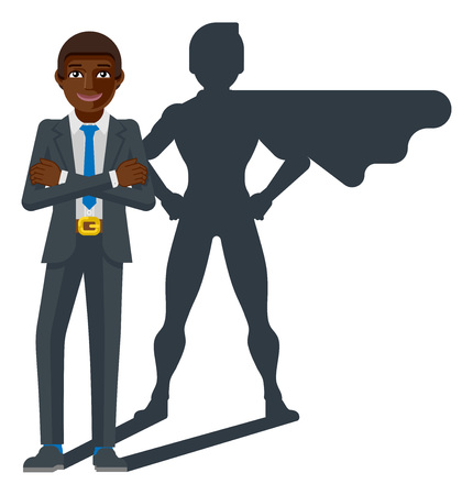 A young black business man revealed as super hero by his superhero silhouette shadow