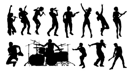 Pop- of rockbandgroepsmuzikanten silhouetten