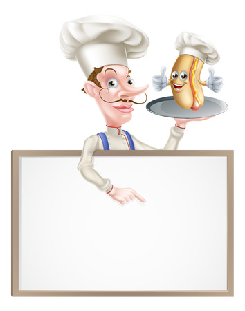 An Illustration of a Hotdog Cartoon Chef Pointing Иллюстрация