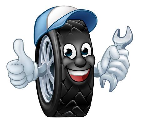 Ein Reifenkarikatur-Automechaniker-Service-Maskottchen, das einen Schraubenschlüssel hält und einen Daumen nach oben gibt